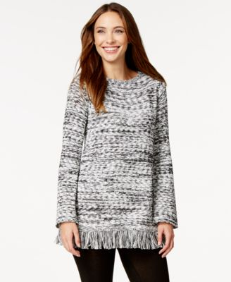 Style & Co. Marled Fringe Tunic Sweater, Only at Macy's - Sweaters ...