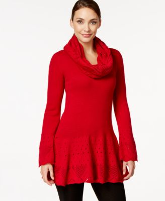 Style & Co. Petite Pointelle-Knit Tunic Sweater with Cowl Scarf ...
