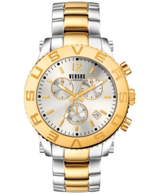 versus by versace men s chronograph madison two tone ion plated versus by versace men s chronograph madison two tone ion plated stainless steel bracelet watch 42mm soh010015