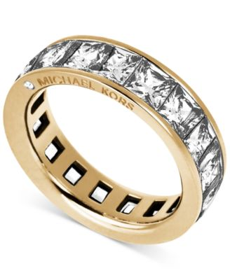 Michael Kors Gold Tone Ring With Square Cut Crystal Stones