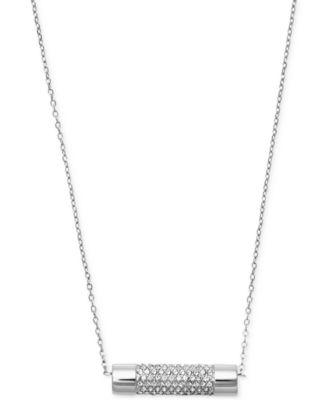 Michael kors gold tone barrel pendant necklace fashion jewelry michael kors silver tone barrel pendant necklace mozeypictures Image collections