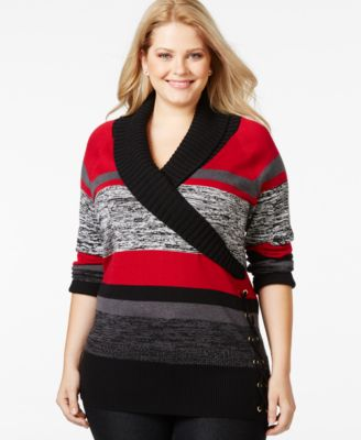 Charter Club Plus Size Long-Sleeve Heart-Print Sweater, Only at ...