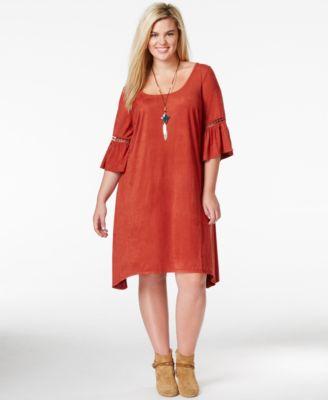 Ing plus size split-side striped tunic dress
