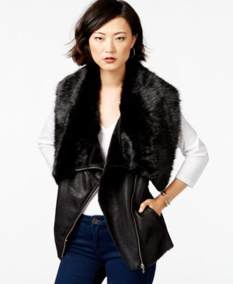 Bar Iii Faux Fur Moto Vest Only At Macy S