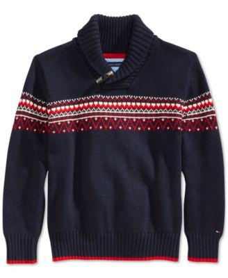 Tommy Hilfiger Little Boys' Long-Sleeve Fair Isle Sweater - Kids ...