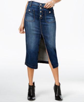 7 For All Mankind Midi Denim La Palma Blue Wash Skirt - Skirts ...