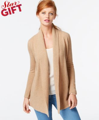 Charter Club Cashmere Ribbed-Trim Open-Front Cardigan, Only at ...