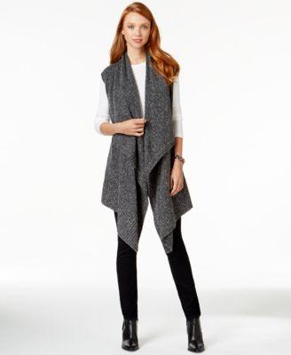 DKNY Jeans Drape-Front Sleeveless Cardigan - Sweaters - Women - Macy's