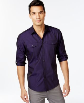 INC International Concepts Harrison Purple Button-Front Shirt ...
