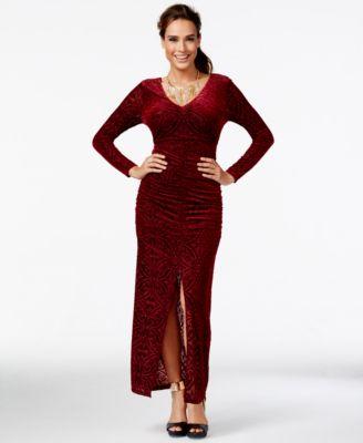 Red v-neck maxi dress