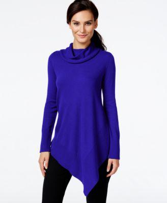 Alfani Asymmetrical-Hem Cowl-Neck Sweater - Sweaters - Women - Macy's