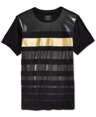 GUESS Stream Gold Stripe T-Shirt - T-Shirts - Men - Macy's