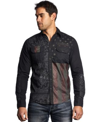 Affliction Patriotic Woven Button-Up Shirt - Casual Button-Down ...