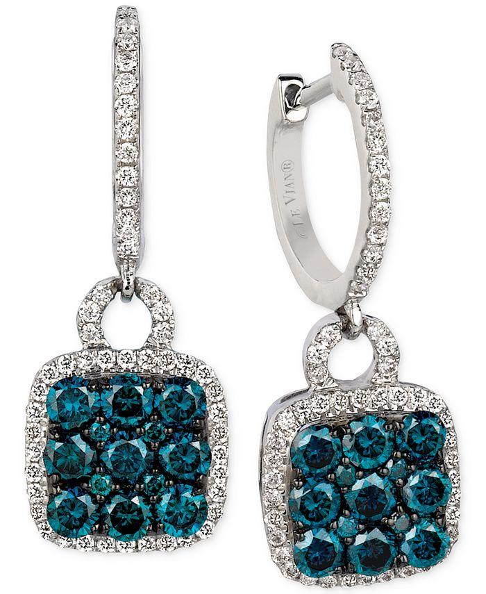 Le Vian - Blue and White Diamond Drop Earrings (1-1/4 ct. t.w.) in 14k White Gold
