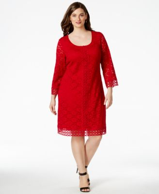 Alfani Plus Size Crochet-Trim Lace Dress, Only at Macy's - Dresses ...
