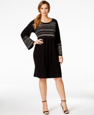 Alfani Plus Size Studded Bell-Sleeve Shift Dress, Only at Macy's ...