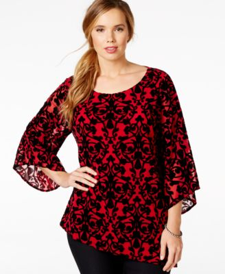 Alfani Plus Size Lace-Trim Printed Tunic, Only at Macy's - Tops ...