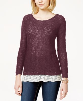 American Rag Striped Open-Knit Lace-Hem Pullover Tunic Sweater ...