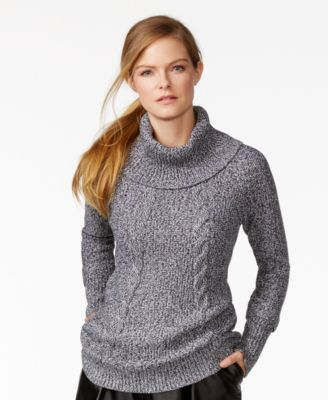 Calvin Klein Marled Cable-Knit Cowl-Neck Sweater - Sweaters ...