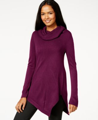 Alfani Cowl-Neck Asymmetrical-Hem Sweater, Only at Macy's ...
