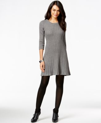 NY Collection Petite Seamed A-Line Sweater Dress - Dresses - Women ...