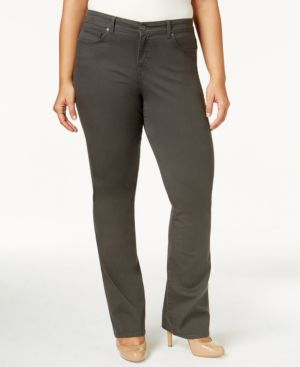 Style & Co. Plus Size Tummy-Control Rhinestone Back Pocket Gray Bootcut Jeans, Only at Macy's