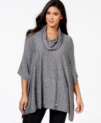 Calvin Klein Plus Size Marled Cowl-Neck Poncho Sweater - Sweaters ...