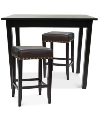 Carolina Classics Ezra 3PC Bar Set With Upholstered Stools Direct Ship