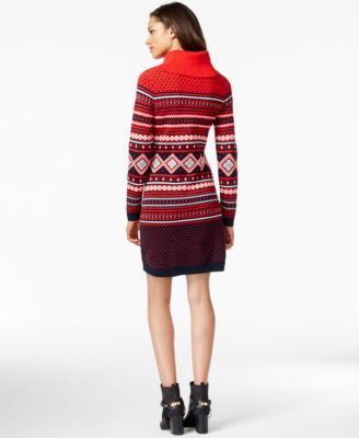 Tommy Hilfiger Printed Cowl-Neck Sweater Dress - Dresses - Women ...