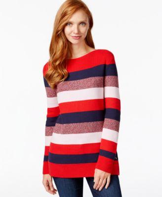 Tommy Hilfiger Striped Tunic Sweater - Sweaters - Women - Macy's