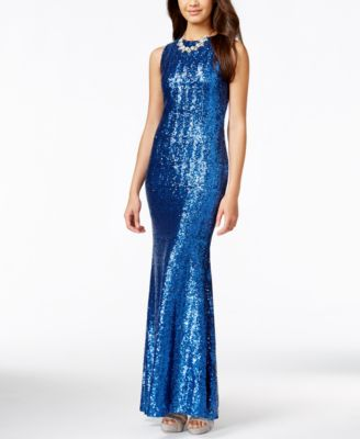 B Darlin Juniors' Sequined Open-Back Mermaid Gown - Dresses ...