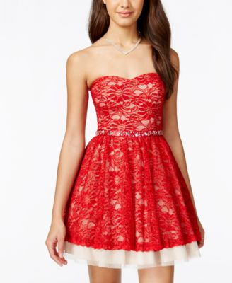 B Darlin Juniors Sequin Bow Back Fit And Flare Dress
