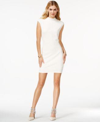 White Turtleneck Sheath Dress