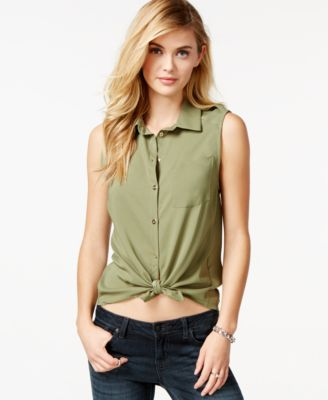 GUESS Lola Sleeveless Button-Down Shirt - Tops - Women - Macy's