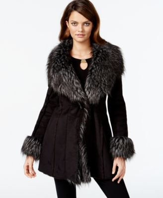 INC International Concepts Faux-Suede Faux-Fur-Trim Coat Only at