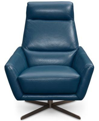 Alec Leather Swivel Chair U0026 Ottoman
