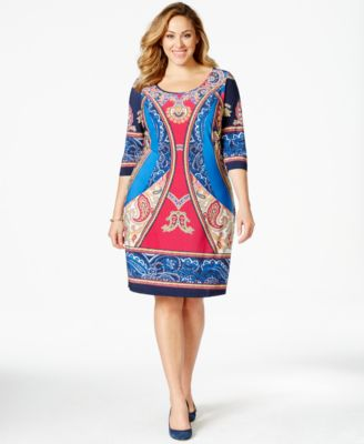 ny collection plus size plus size printed shift dress - dresses