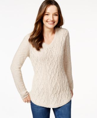 Style & Co. V-Neck Cable-Knit Sweater, Only at Macy's - Sweaters ...