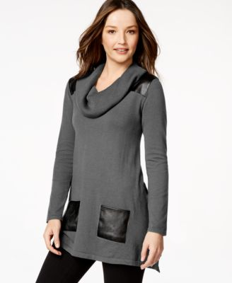 Style & Co. Cowl-Neck Faux-Leather Sweater Tunic - Sweaters ...