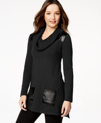 Style & Co. Petite Faux-Leather-Trim Sweater Tunic, Only at Macy's ...