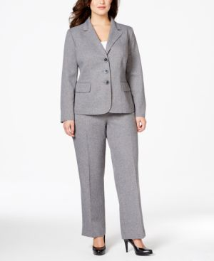 Le Suit Plus Size Notch-Collar Button-Front Pants Suit