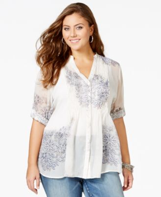 American Rag Plus Size Floral Print Pleated Blouse Only At Macys