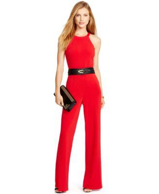 Lauren Ralph Lauren Petite Jersey Jumpsuit - Pants - Women - Macy's