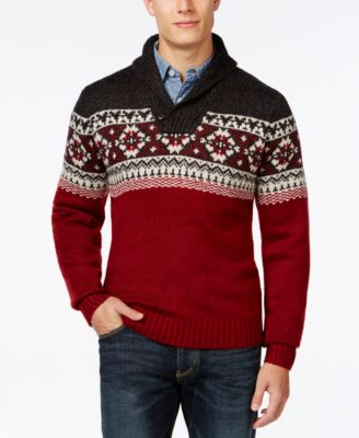 Tricots St. Raphael Fair Isle Shawl Collar Sweater - Sweaters ...