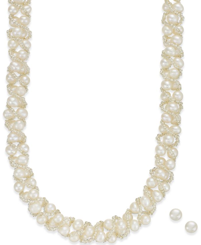 Macy's Cultured Freshwater Pearl Necklace (4mm pearls) and Stud Earrings (6mm pearls)) Set in Sterling Silver & Reviews - Earrings - Jewelry & Watches - Macy's