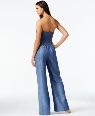 RACHEL Rachel Roy Wide-Leg Denim Jumpsuit - Pants & Capris - Women ...