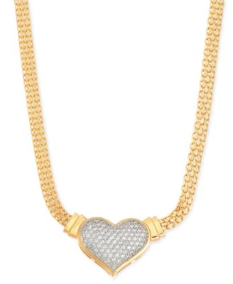 Diamond heart mesh necklace in sterling silver 12 ct tw diamond heart pendant necklace 12 ct tw in 14k gold over mozeypictures Gallery