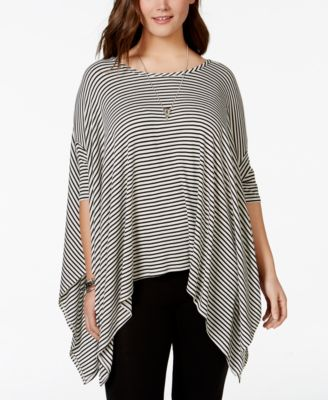 ing plus size striped poncho top - tops - plus sizes - macy's