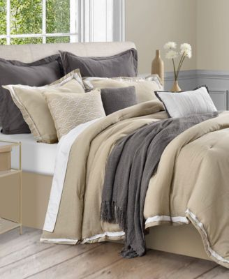 Stafford 10-Pc. Cotton/Linen Queen Comforter Set