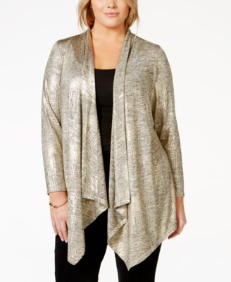 Alfani Plus Size Open-Front Sequin Cardigan, Only at Macy's ...